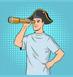 mentally ill man as pirate napoleon pop art vector image