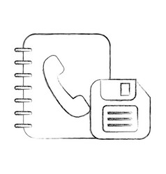 office book address telephone and floppy vector image
