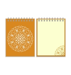 Orange cover notebook with round florwer pattern vector