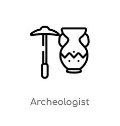 Outline archeologist icon isolated black simple vector