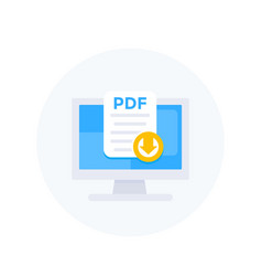 Pdf download to computer icon vector