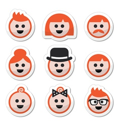 People with ginger hair icons set vector image