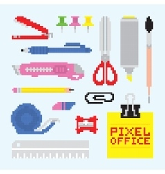 Pixel art isolated office tools set vector