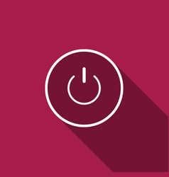 power button icon with long shadow start sign vector image