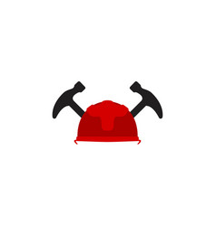 protection helmet and hammer repair logo designs vector image