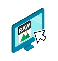 Raw image file extension icon isometric 3d style vector