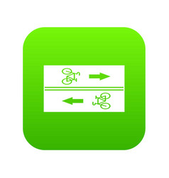 road for cyclists icon digital green vector image
