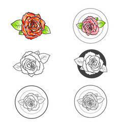 Rose flower different logo design set vector