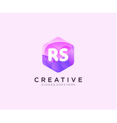 Rs initial logo with colorful hexagon modern vector