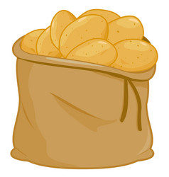Sack full raw potatoes vector