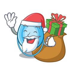 Santa with gift oxygen mask mascot cartoon vector