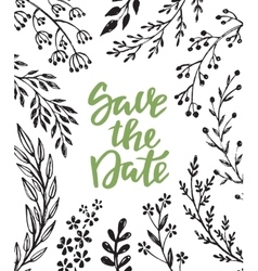 save date card with hand drawn branches vector image