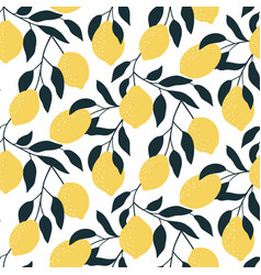 seamless pattern with citrus fruits hand drawn vector image