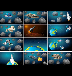 Set asteroid outer space background scenes vector