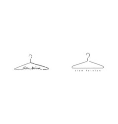 set continuous one line hanger and minimalistic vector image