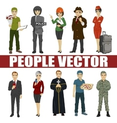 Set of diverse people Various professionsective vector image