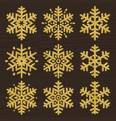 Set of golden glittering snowflakes line stile vector
