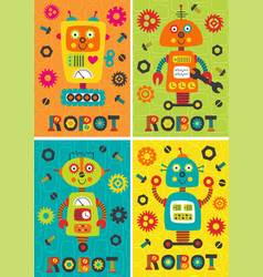 Set of posters with robots part 2 vector
