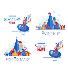 set of winter seasonal and vector image
