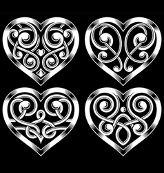 set ornate heart shape vector image