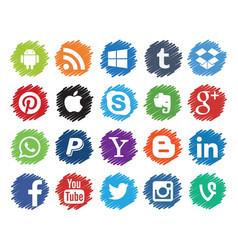 set popular social media logos vector image