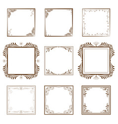 set vintage decorative border vector image