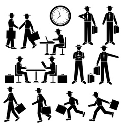 Silhouette Businessman set Walking and vector image