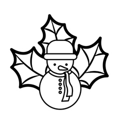 Snowman silhouette with hat and christmas leaves vector