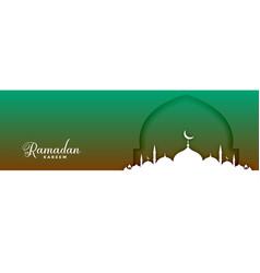 Stylish ramadan kareem mosque festival banner vector