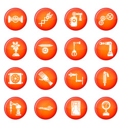 Technical mechanisms icons set red vector