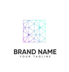 Technology logo design template full color vector