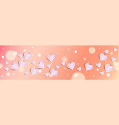 valentines day bokeh background with pink hearts vector image