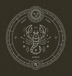 vintage thin line scorpio zodiac sign label retro vector image