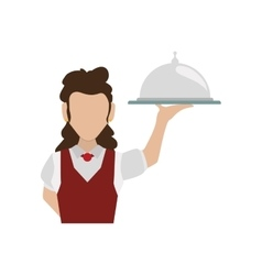 Waiter female avatar suit person icon vector image