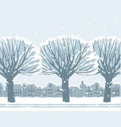 Winter landscape with snow-covered trees in town vector