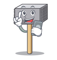with phone character of metallic meat tenderizer vector image