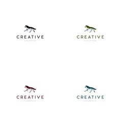 Wolf alpha creative logo design vector