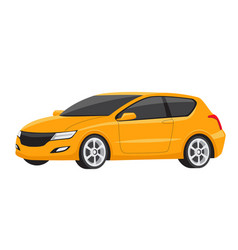 yellow small modern family car vector image