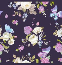 colorful flowers background with butterflies vector image