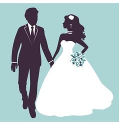 Elegant wedding couple in silhouette vector image vector image