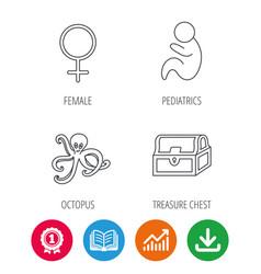 female treasure chest and paediatrics icons vector image vector image