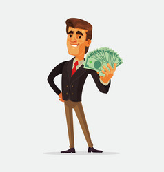 happy rich businessman character vector image vector image