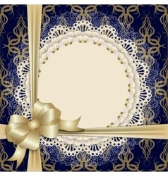 lace cloth with gold bow vector image