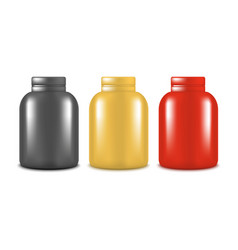realistic template blank color protein bottle set vector image