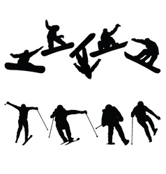 snowboard and ski jumpers vector image