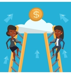 Two business woman competing for the money vector image vector image