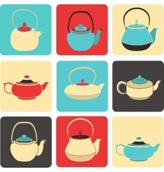 collection of color silhouette teapot icons vector image vector image