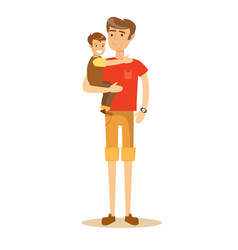 father holding his son in his arms and smiling vector image