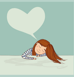 girl dreaming in love marine with big heart vector image vector image