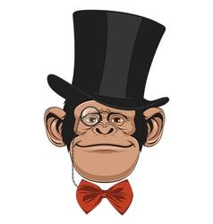 Monkey hat head vector image vector image